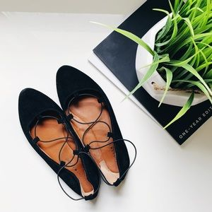 Lucky Brand Black Suede Aviee Pointed Flats